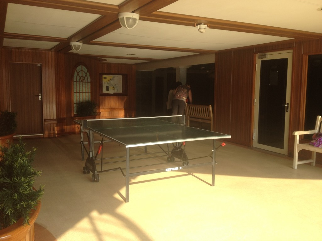 We occupied both table tennis tables for well over an hour