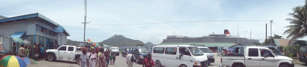Rabual bustling with kids, mini busses, stalls and tourists