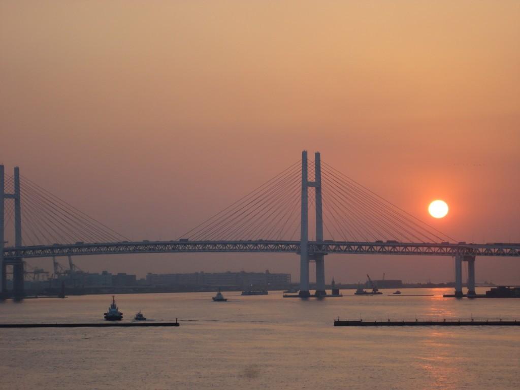 Sunrise at Yokohama Bay Bridge