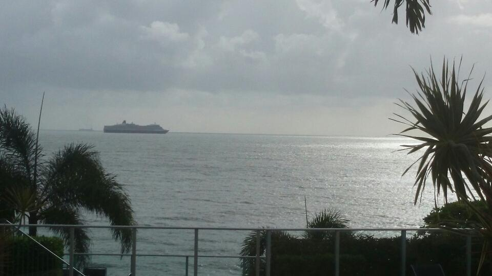 Queen Elizabeth as seen from Trinity Beach