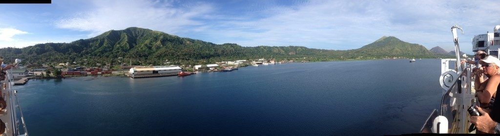 Leaving Rabaul the view from Lido deck QE