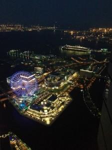 Yokohama port side city by night