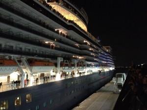 Queen Elizabeth leaving Osanbashi pier Yokohama