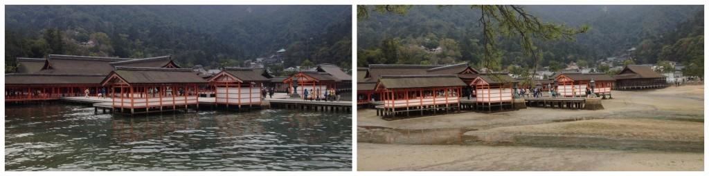 Itsukushima shrine at high & low tide
