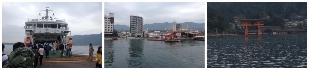 JR Ferry from Miyajimaguchi past the Torii gate