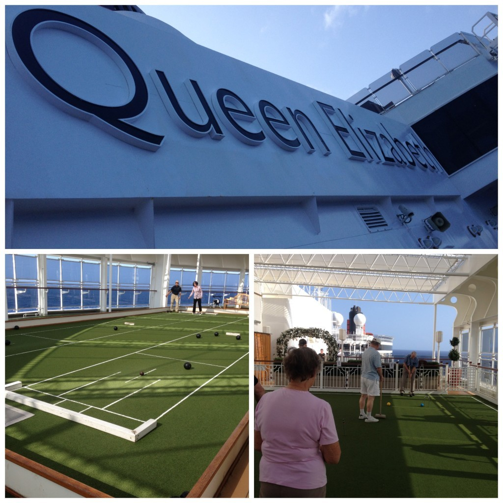 Queen Elizabeth croquet & short lawn bowls on the games deck right at the front of the ship