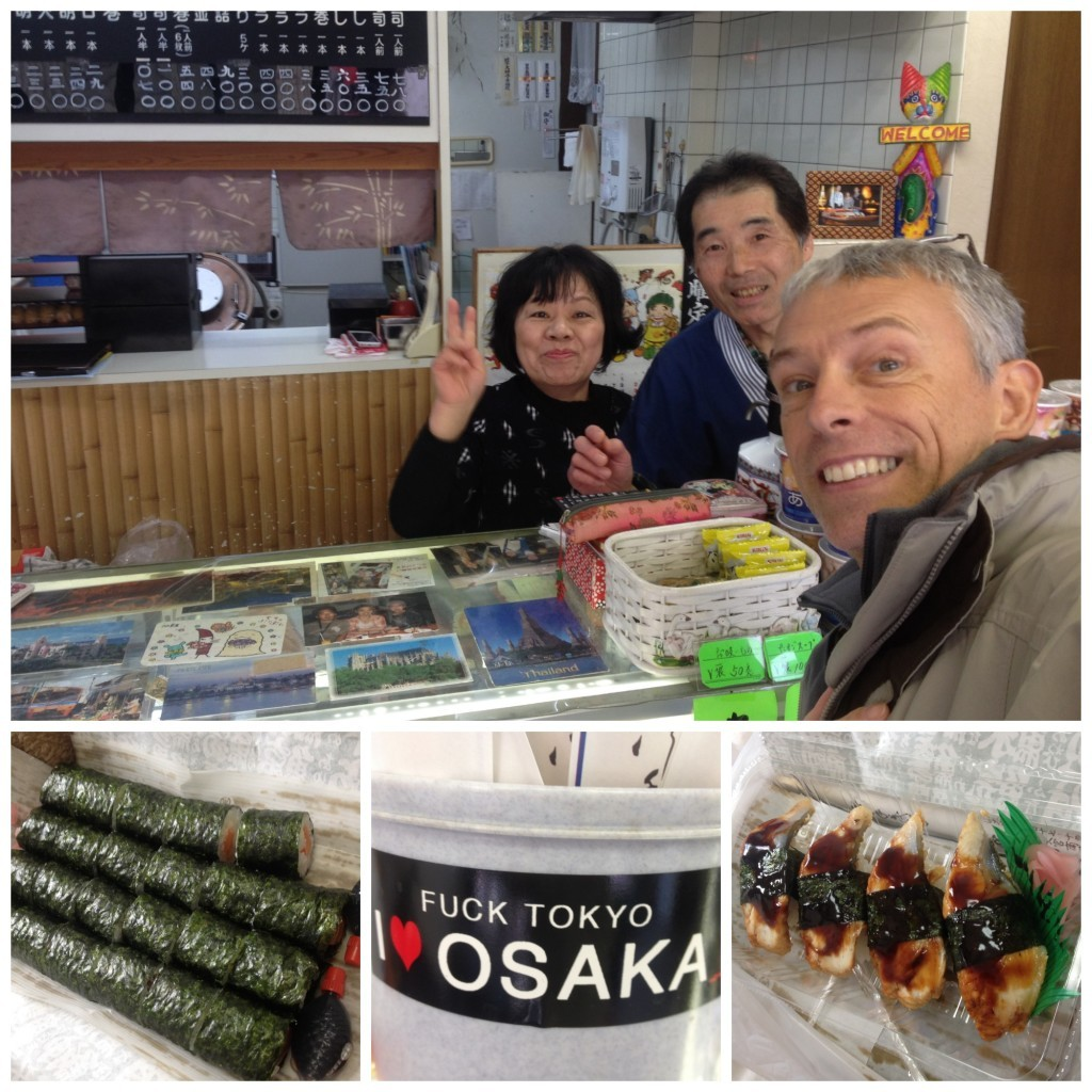 The local sushi shop friendly owners, they love Osaka not Tokyo
