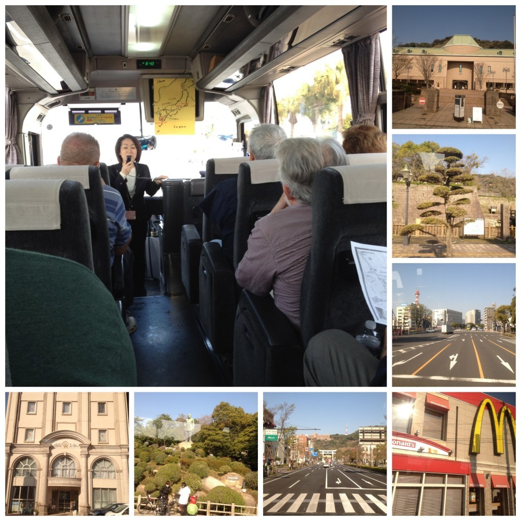 images from the bus drive through the town