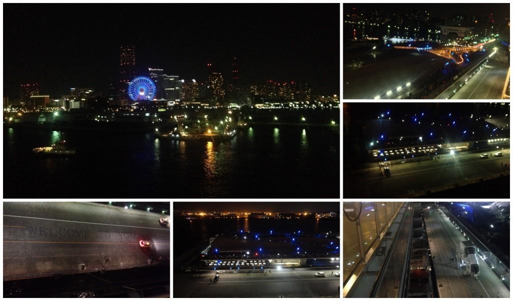 Yokohama city lights from the deck on Queen Elizabeth