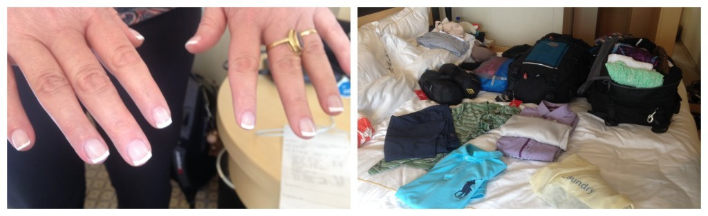 Moni with her new nails and me packing