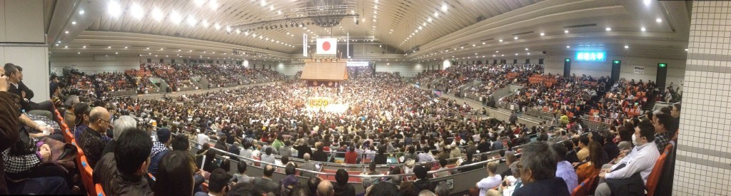 Panoramic view for Sumo in Bodymaker Colosseum Osaka from our seats