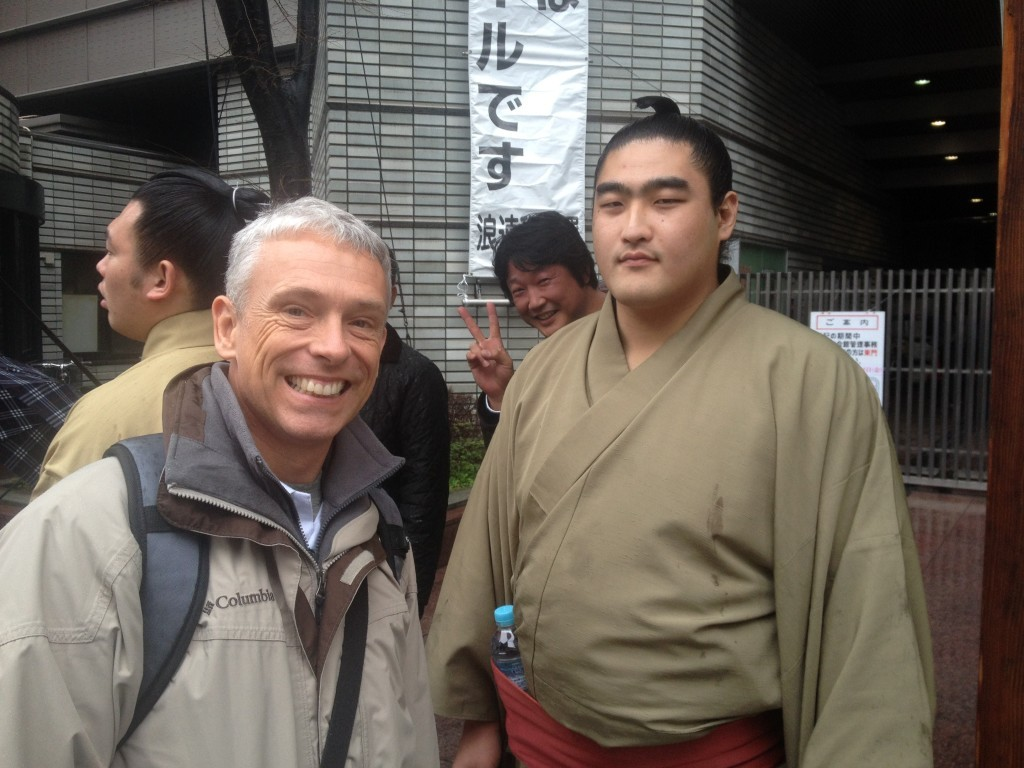 Sumo wrestler (can you spy the photo bomber)