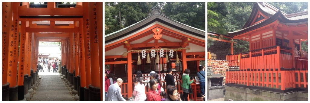 At the end of the first walk through the Torii gates there is a shrine, you can turn around and go back from here