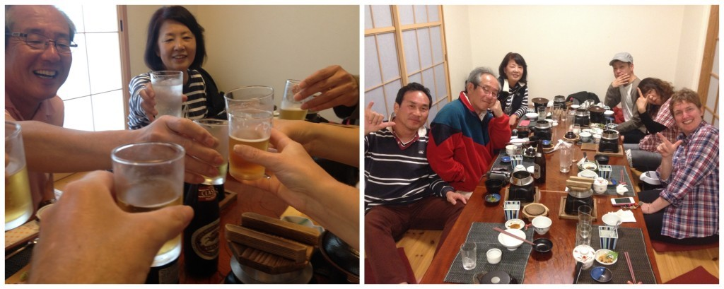 Cheers or Campai in Japanese, an awesome dinner at Minsyuku Katsura