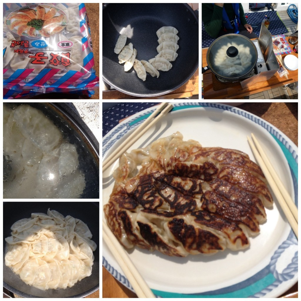 Cooking Gyoza, open pack, place in pan, add little sesame oil & water, steam
