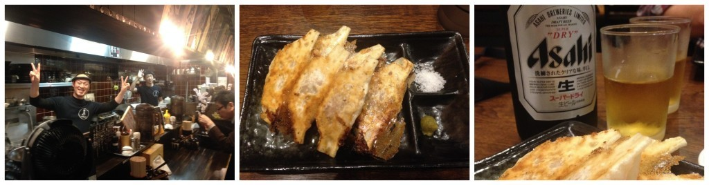 Dinner of Gyoza & Asahi beer