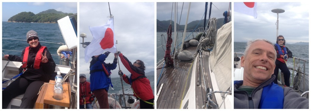 Early morning smiles, attaching the Japanese flag, wet decks from some waves