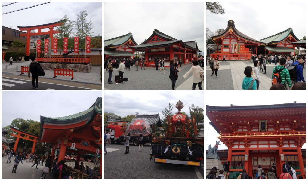 Entrance from the station, the shrine buildings, a couple of trucks with (Yatai) floats on