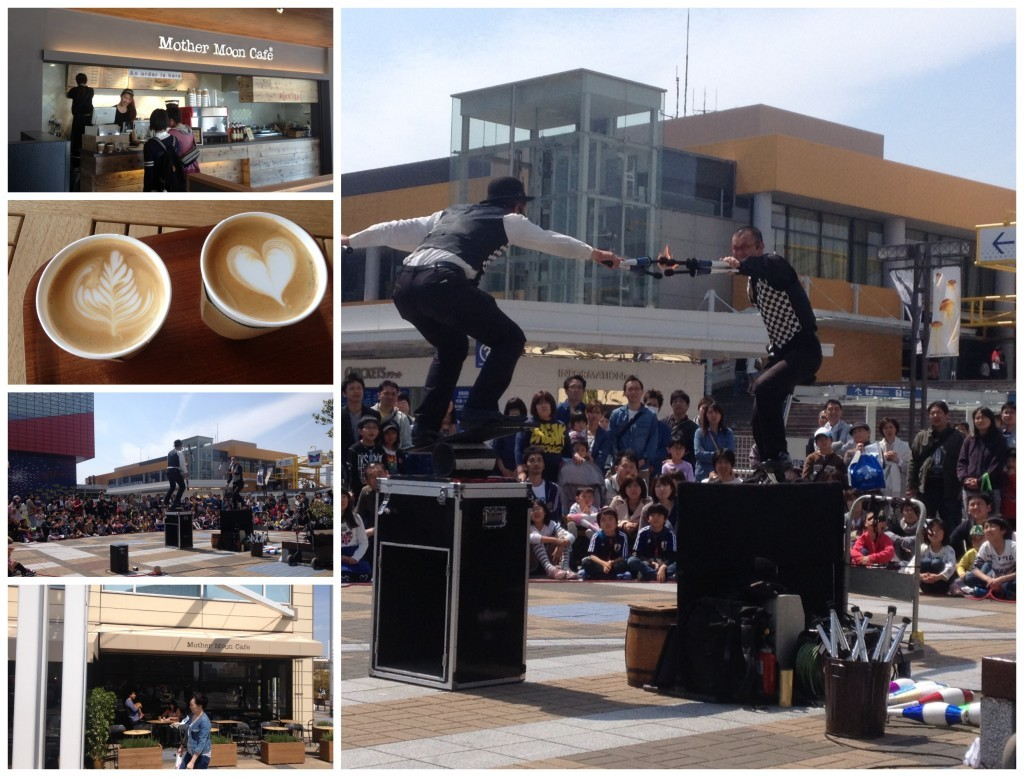 Half Moon Cafe and street performers near the Aquarium