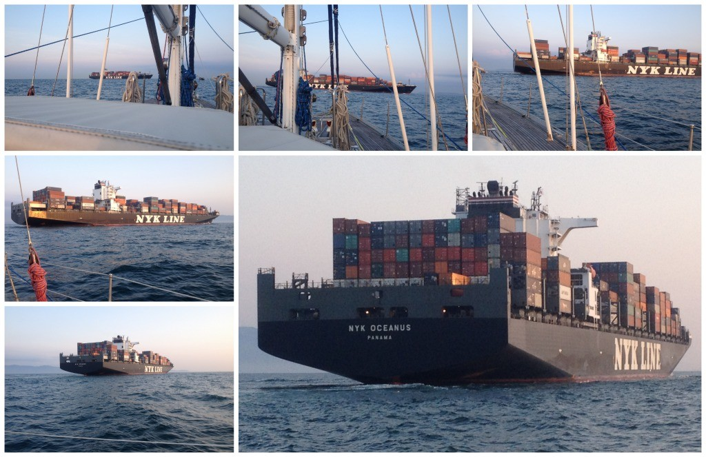 Huge container ship passing us