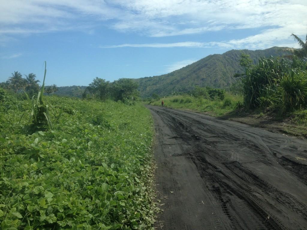 The roads of volcanic ash on Rabual