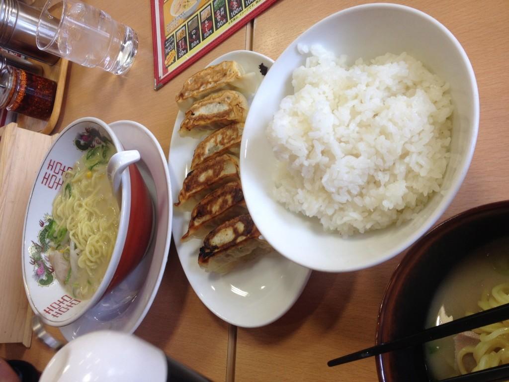 Lunch of Ramen, rice and Gyoza