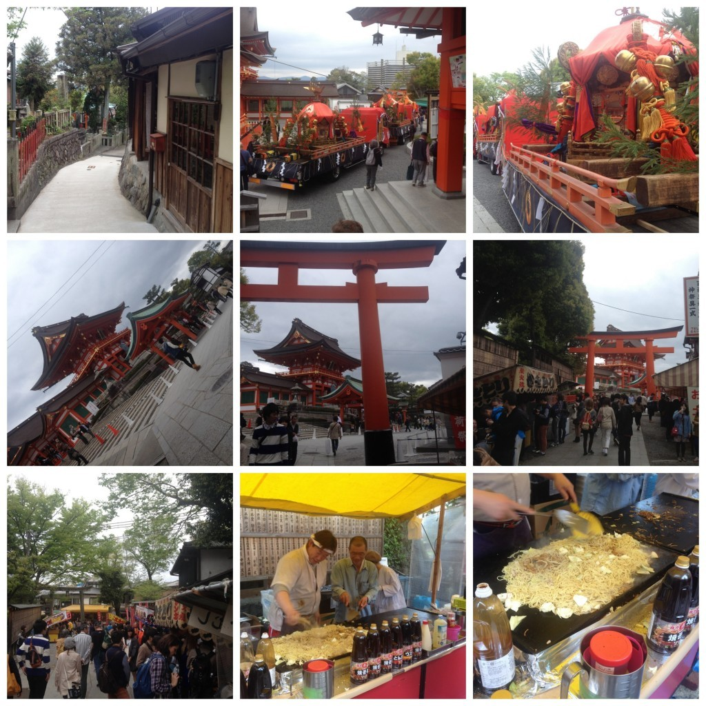 Images from leaving the shrine walking down the street, great noodle stall for take away