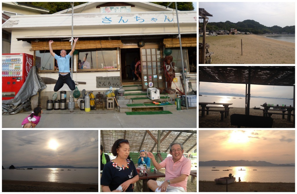 Jumping high with joy ouside Sanchan restaurant, down at the beach at the Moooo bar