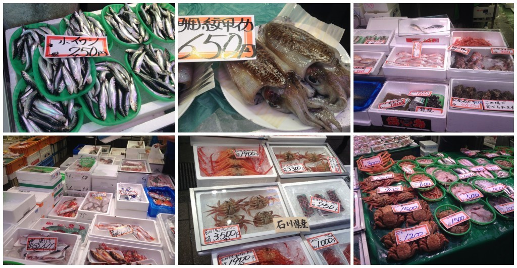 Omi-cho Market selection squid, crabs etc