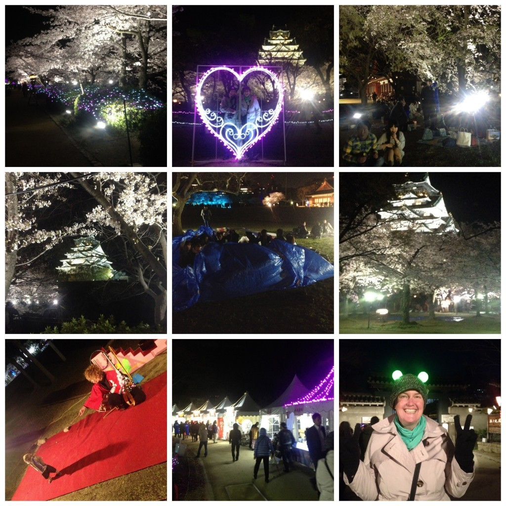 Images from Osaka castle at night