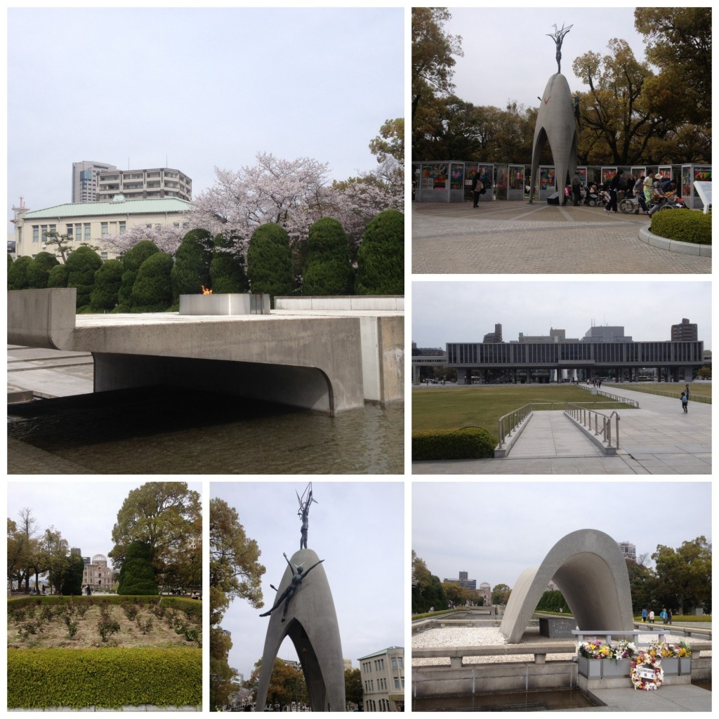 Peace park with the eternal flame, the museum, the Cenotaph & the children's peace monument