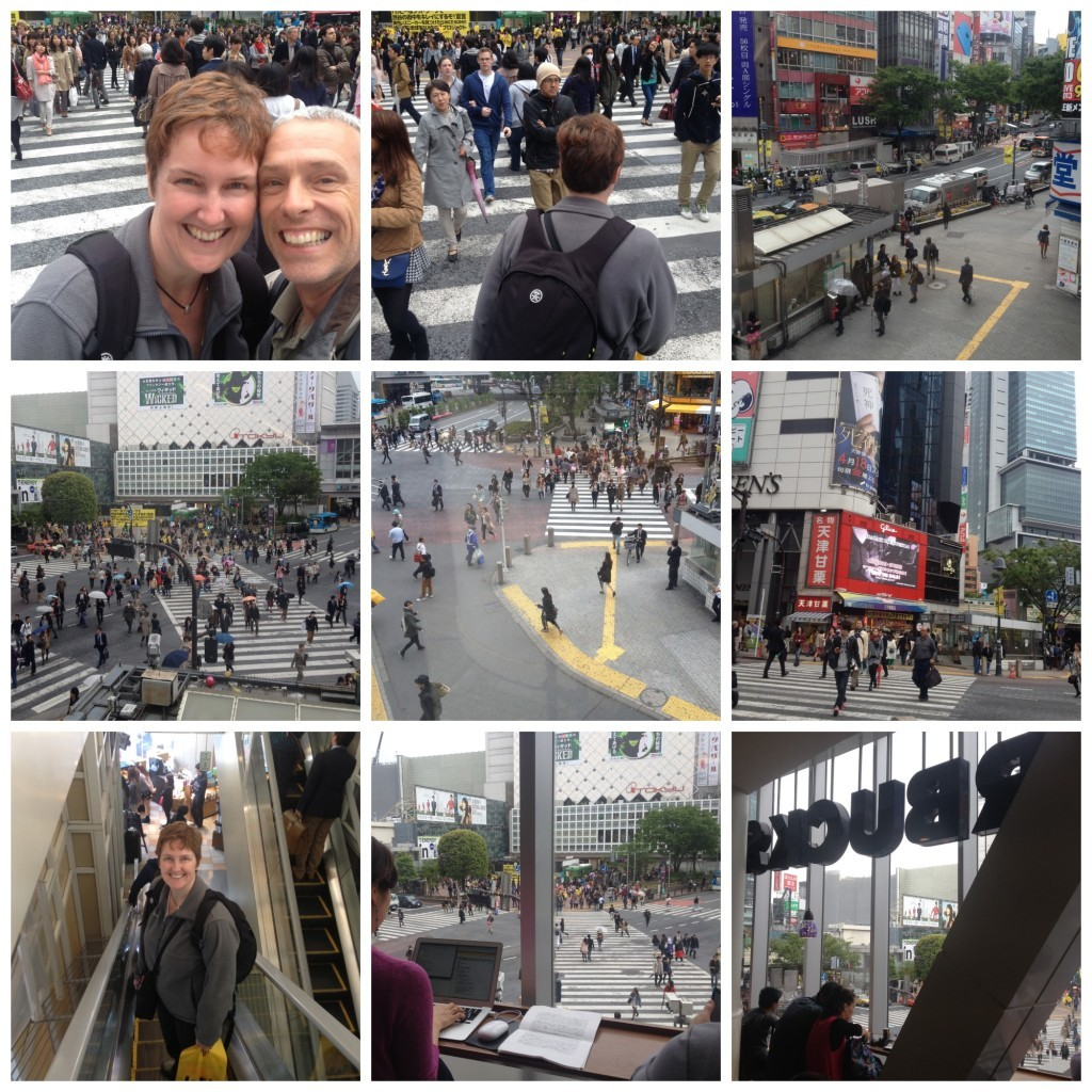 Shibuya crossing images from Starbucks and ground level