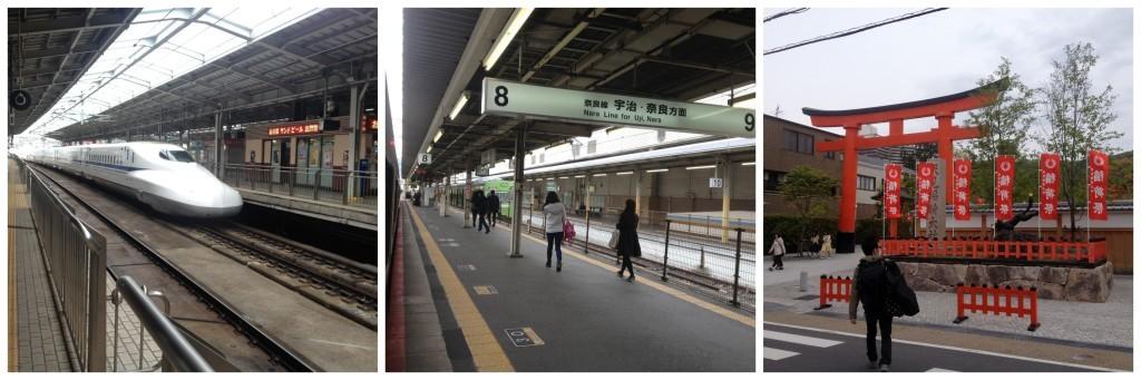 Shinkansen then change to the Nara line to Inari station