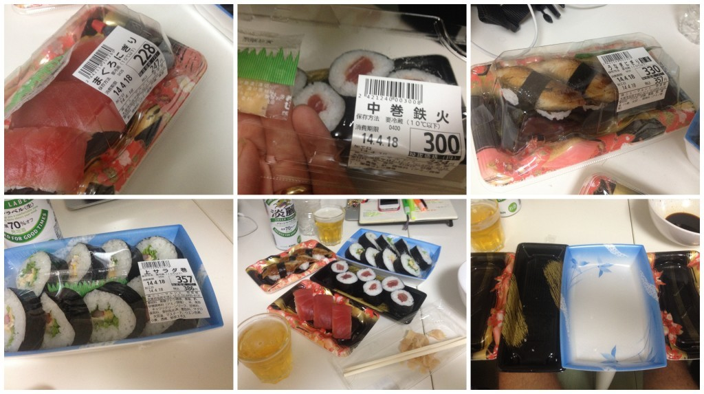Sushi from the supermarket, check out the wonderful packing they use and so cheap