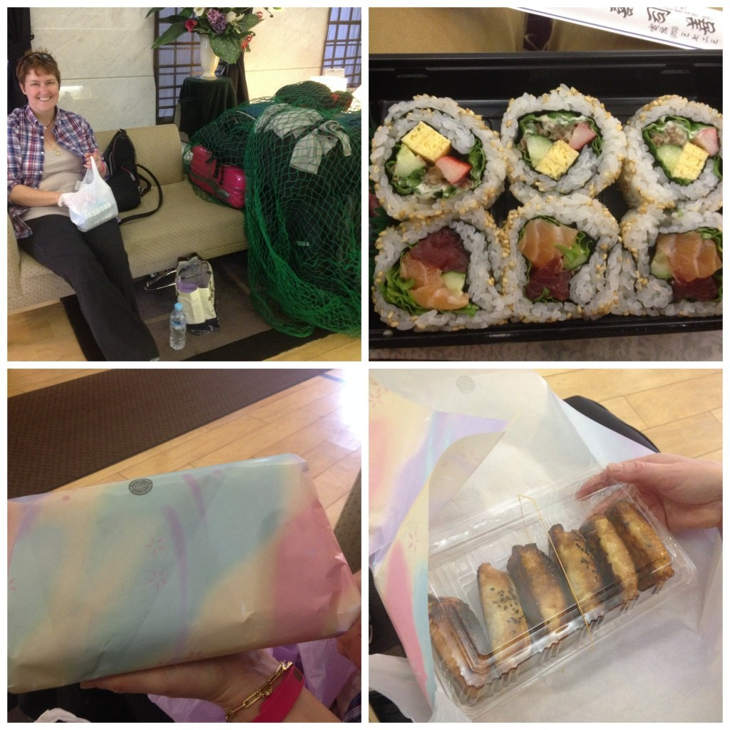 Sushi lunch courtesy of Mieko & Nishimori, you can see the bags stored