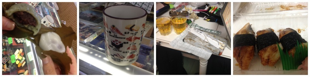 Sweets, Green Tea, Kirin Beer & Sushi Collage
