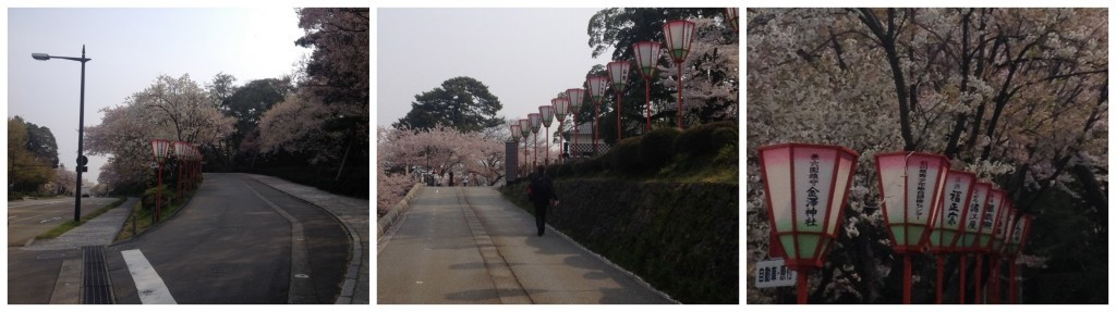 The road up to the Kenrokuen garden and Kanazawa Castle