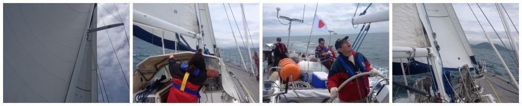 Three sails up on Big Elle