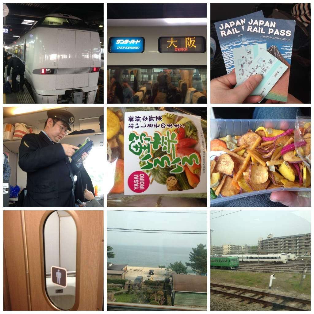 Thunderbird train to Osaka, ticket control, dried vegetable snack (yummy), mens toilet with window!!! views
