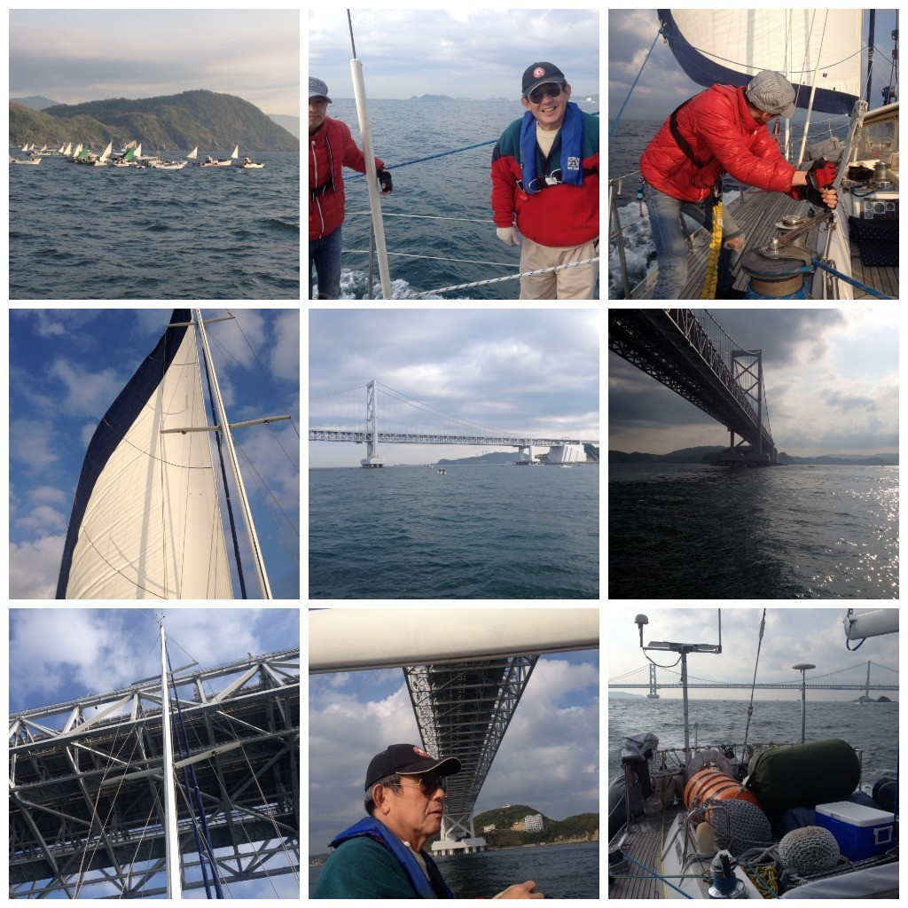 Tom putting one sail up, then going under the first bridge