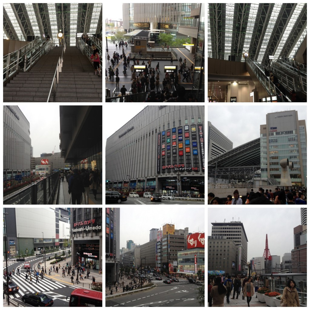 Walk from Osaka station to restaurant