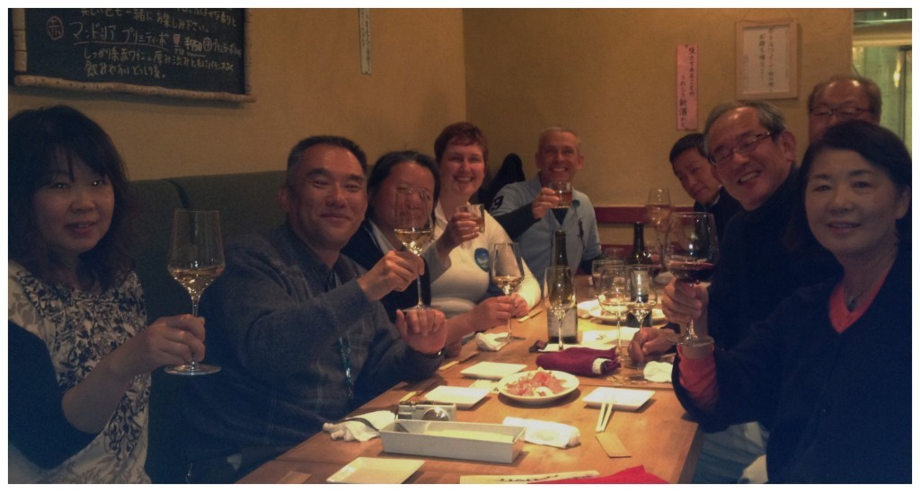 A group photo at the wine bar in Osaka