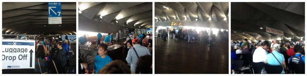 Bag drop off and waiting in Osanbashi cruise terminal