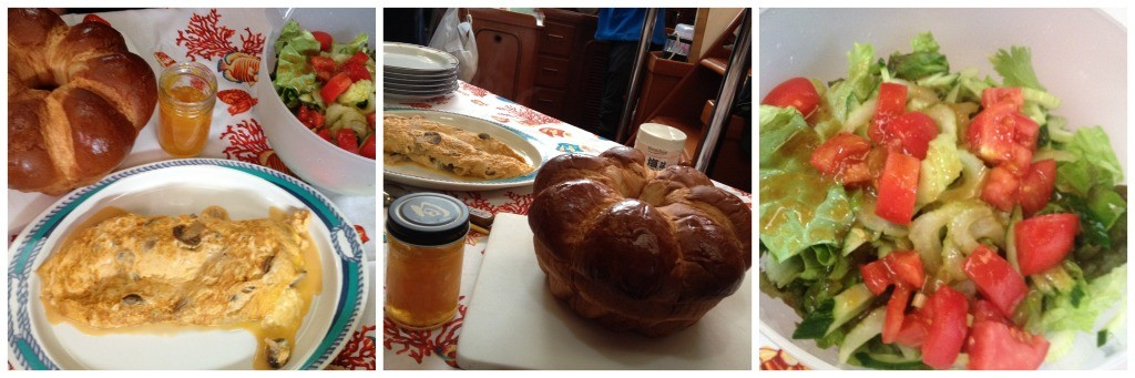 Breakfast of fine Zopf bread mushroom omelete and salad