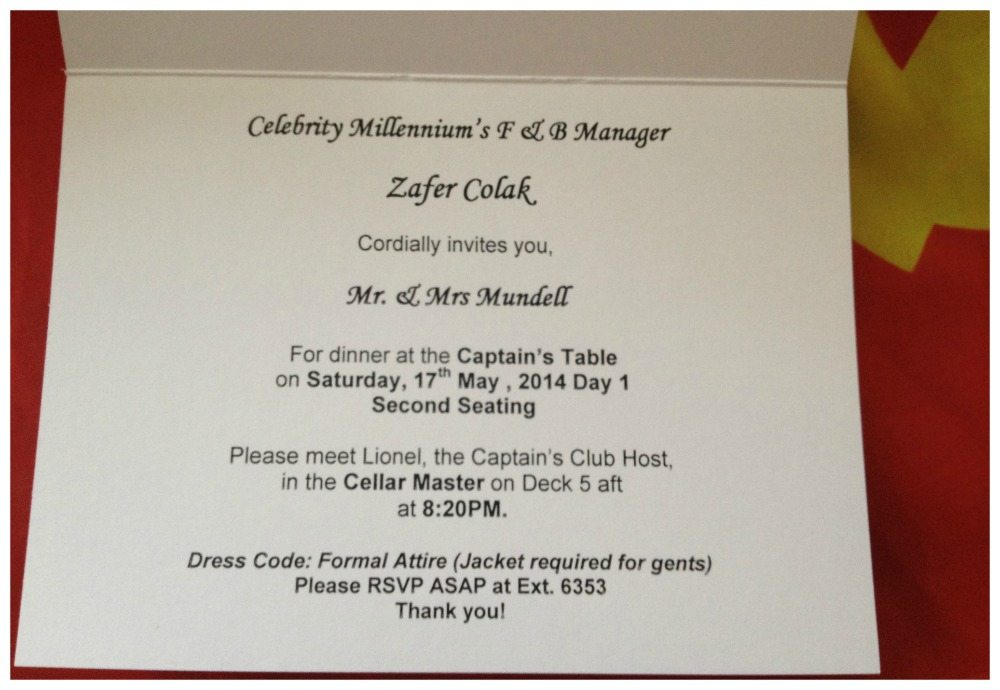 Captain's Table dinner invitation on Celebrity Millennium