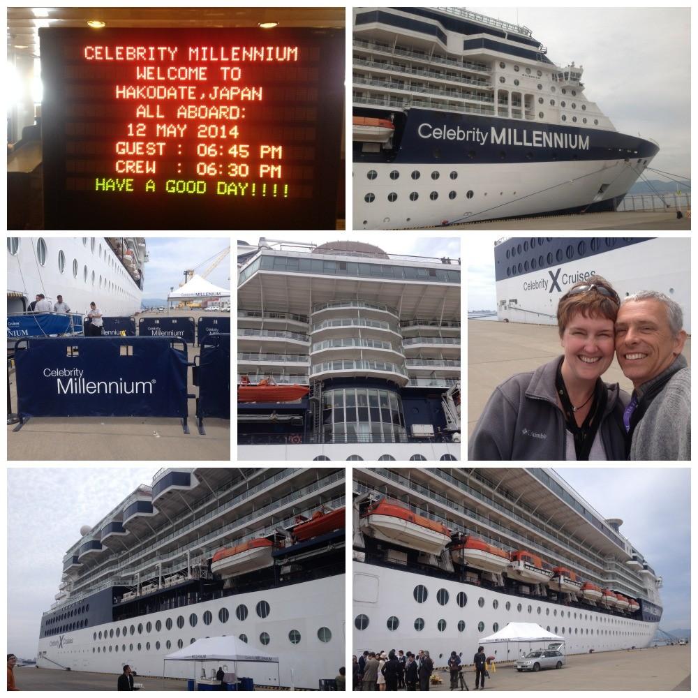 Celebrity Millennium docked alongside in Hakodate Japan