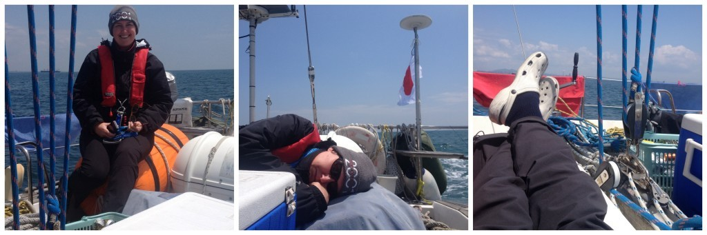 Chilling out on Big Elle sailing