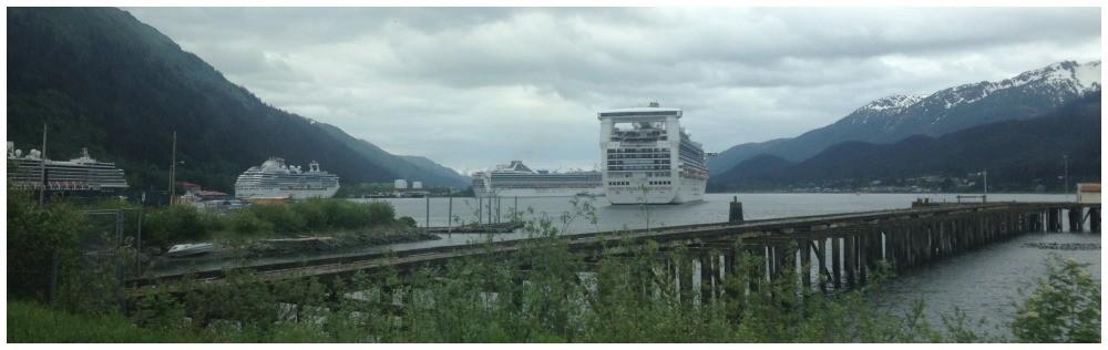 Four cruise ships in Juneau Alaska