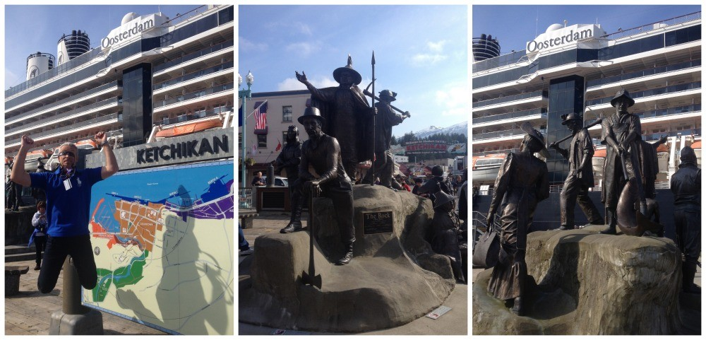 Jumping with joy in Ketchekan by the famous bronze Rock statue