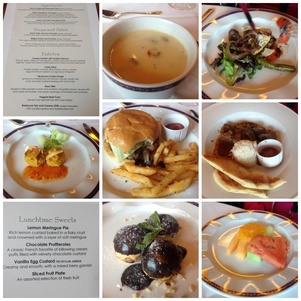 Lunch menu at Glacier Bay